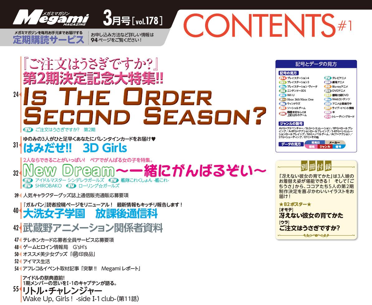 Megami MAGAZINE 2015年 3月号 目次  (2)