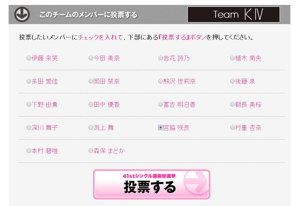 宮脇咲良 二本柱 AKB48総選挙投票 (1)