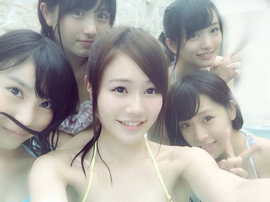 AKB15期生で水着プールが桃源郷 向井地美音 大和田南那 込山榛香 市川愛美