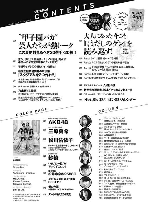 表紙神7 宮脇咲良ほか 週刊プレイボーイ2015年8月17日号 付録AKB48マウスパッド  (4)