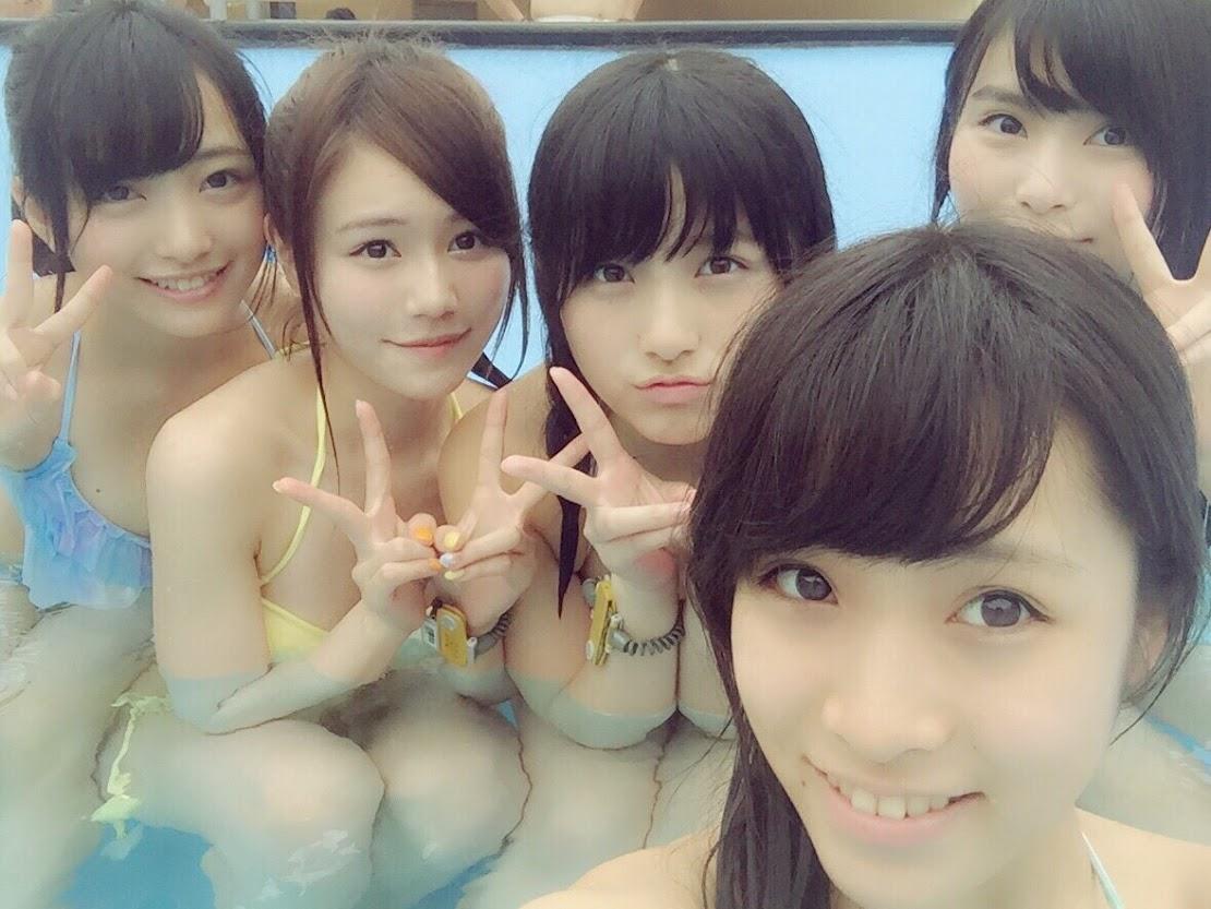 AKB15期生で水着プールが桃源郷 向井地美音 大和田南那 込山榛香