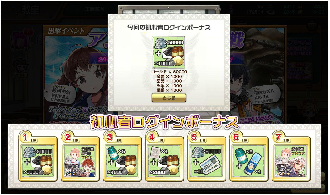 シューティングガールに初心者ログインボーナスが始まり☆4仏坂アナ&☆4赤十杏里が貰える