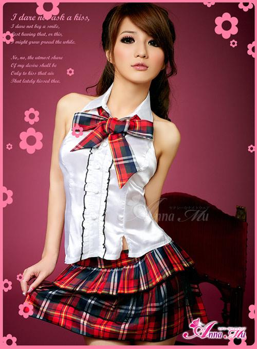 彼女に着せたい AKB風 赤チェック制服 (1)