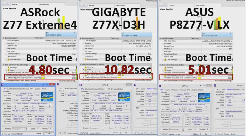 パソコン起動4.8秒の動画 マザーボードAsRock、ASUS